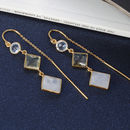 Blue Topaz And Gemstone Threader Earrings