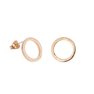 Gold Small Cirlce Stud Earrings
