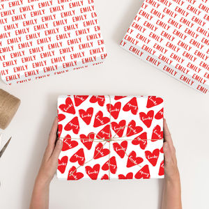 Personalised Love Heart Wrapping Paper - wrapping