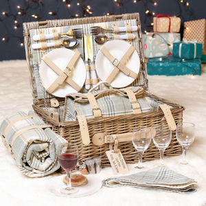 Luxury Personalised Tartan Four Person Picnic Hamper - camping
