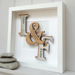 11th Steel Anniversary Deluxe Oak Initials Artwork