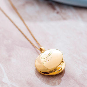 14 K Gold Vermeil Engraved Initial Locket - gifts for her