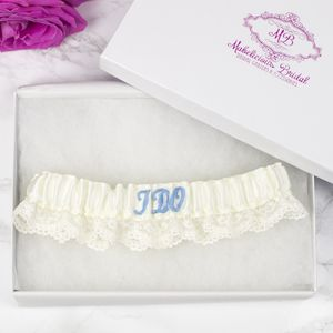 'Initial' And 'I Do' Personalised Bridal Garter - something blue