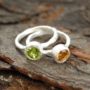Silver Textured Peridot Citrine Gemstone Ring - rings