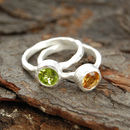Silver Textured Peridot Citrine Birthstone Ring
