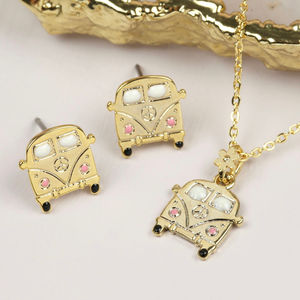 Gold Campervan Necklace And Earrings Set