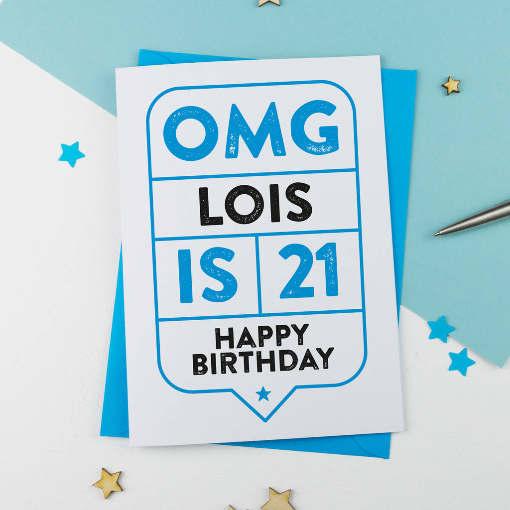 omg 21st birthday card personalised by a is for alphabet – 21 Birthday Card