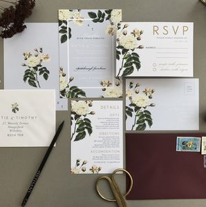 French Grey Botanical Wedding Invitation Set