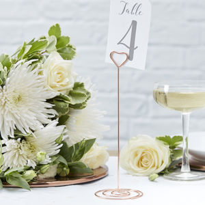 Rose Gold Heart Wedding Table Number Stands - placename holders