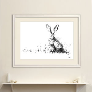 The Hare Original Charcoal Drawing - animals & wildlife