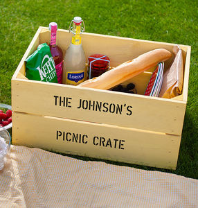 Personalised Wooden Picnic Crate Hamper - picnic hampers & baskets