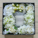 Artificial Bloom Box With Scented Lavender Candle Gift