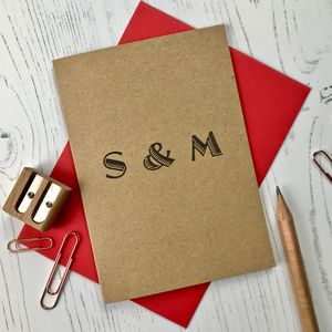 Couples Personalised Initials Card