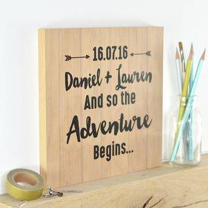 Personalised Engagement Or Wedding Wooden Print