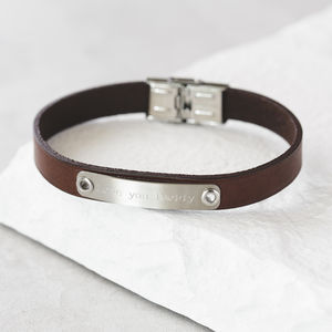 Men's Personalised ID Leather Bracelet - bracelets