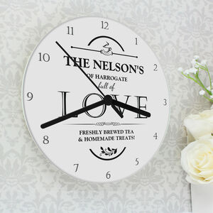 Full Of Love Personalised Wall Clock