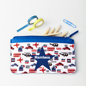 Boys Personalised Transport Pencil Case
