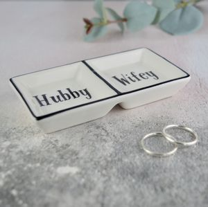 Hubby And Wifey Ring Dish Couples Gift