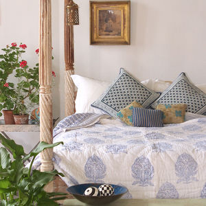 Blue Block Print Quilt - bedroom