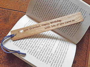 Personalised Gift Oak Bookmark