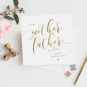 To My Mother And Father In Law Card | Gold Effect