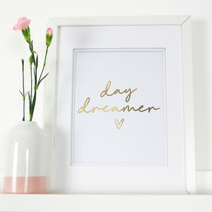 Day Dreamer Gold Foil Print - baby's room
