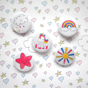 Set Of Five Unicorn Themed Badges - children's jewellery