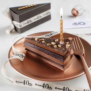 40th Birthday Chocolate Cake Slice With Candle And Card - chocolates & truffles