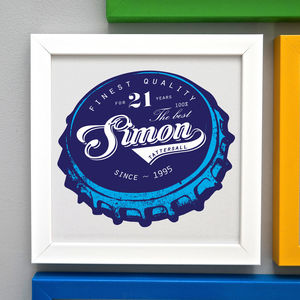 Framed Birthday Beer Bottle Top Print - 21st birthday gifts