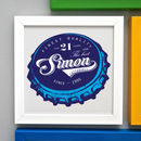 Personalised 21st Birthday Beer Bottle Top Framed Print