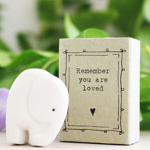 Ceramic Elephant Remember You Are Loved Gift In A Box