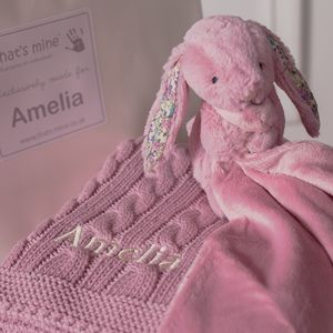 Personalised Cable Blanket And Bunny Comforter Gift Set