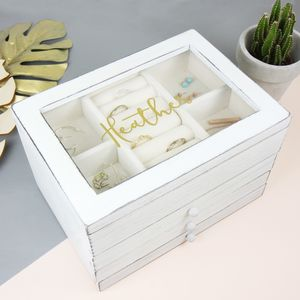Personalised Wooden Jewellery Box With Drawers