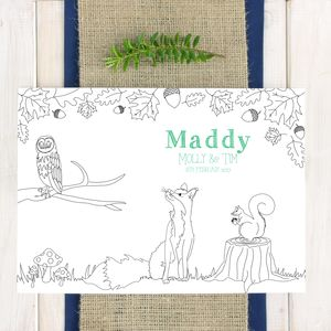 Personalised Woodland Animal Wedding Colour In Placemat