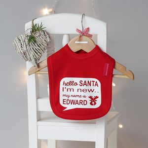Hello Santa Personalised Bib - baby's first christmas