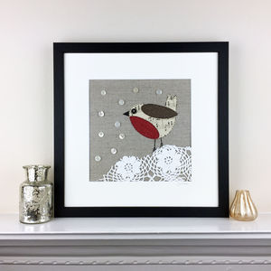 Original Collaged Robin And Lace Artwork