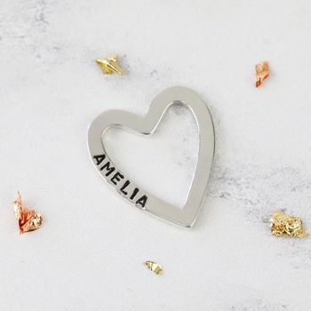 Personalised Sterling Silver Heart Outline Pendant