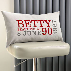 Personalised 90th Birthday Rectangular Cushion