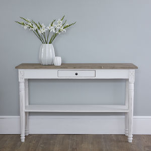 White Console Table With Oak Top - bedroom