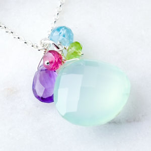 Aqua Chalcedony Cluster Necklace