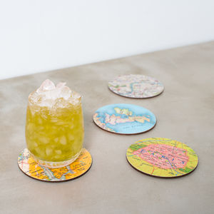 Personalised Map Location Round Drinks Coasters