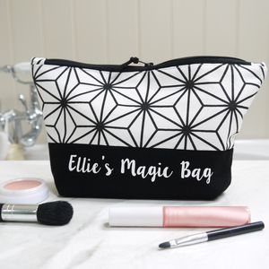 Personalised Monochrome Make Up Bag Or Wash Bag