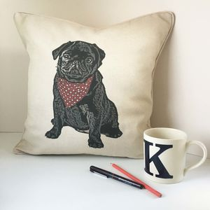 Black Pug Feature Cushion - patterned cushions