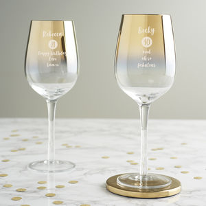 Personalised Special Age Birthday Gold Glass For Her