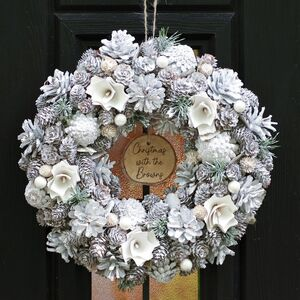Personalised Frosted Snow Drops Christmas Wreath