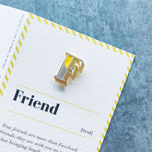 F Is For Friend Pin Badge And Card - gifts for friends