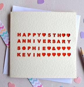 Personalised Laser Cut Heart Anniversary Card