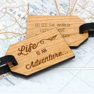 Personalised Wooden Adventure Luggage Tag - frequent traveller