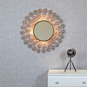 Kratos Antique Copper Sunburst Rays Light Wall Mirror - wall lights