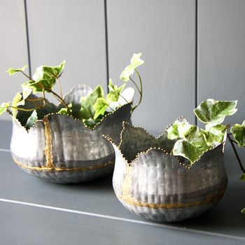 Set Of Two Beaded Tulip Planters